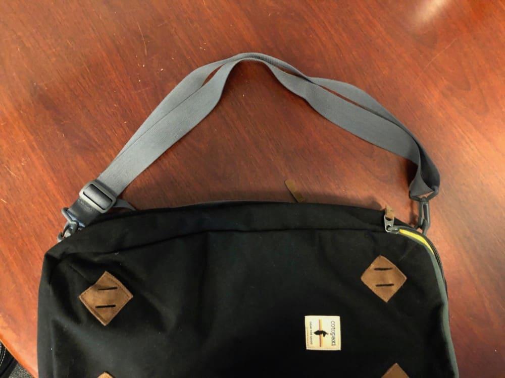 Shoulder strap turns Cotopaxi Nazca backpack into a shoulder bag