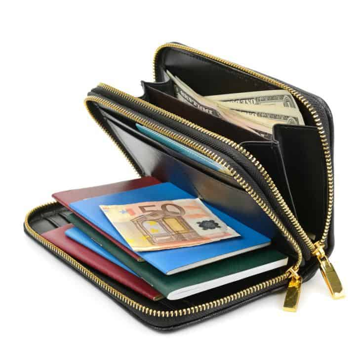 Travel wallet with cash and passport