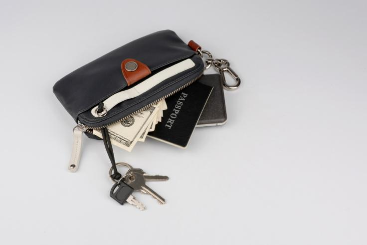 Black and red wallet with key holder