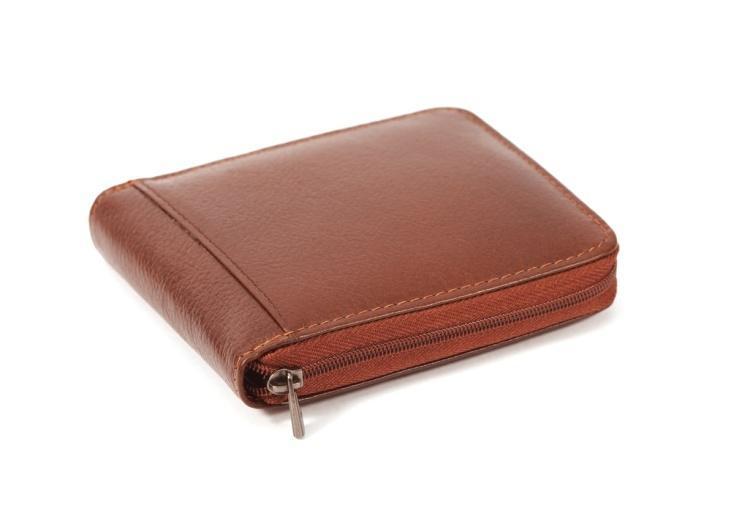 Brown zippered wallet
