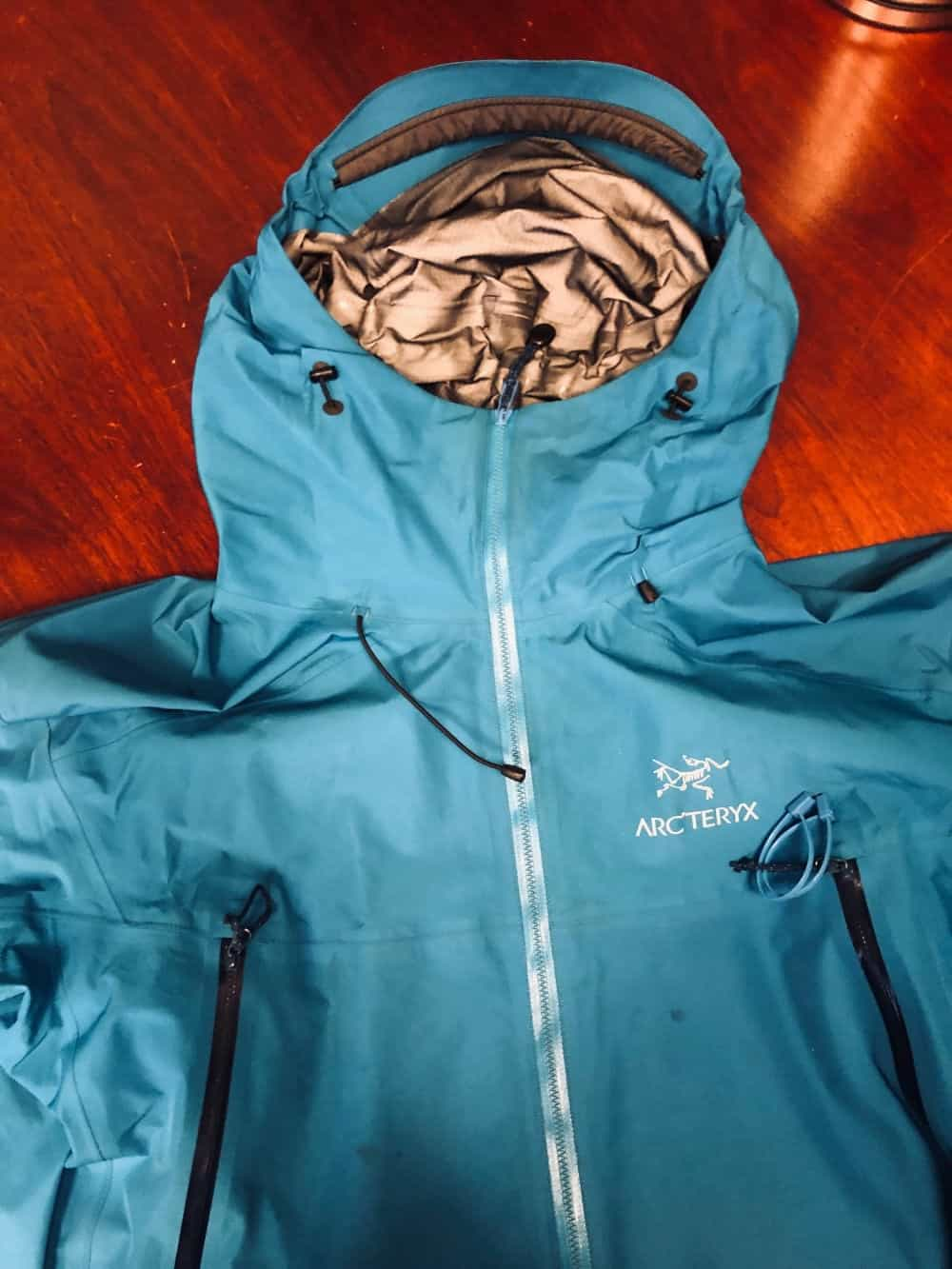 Photo of the hood of the Arc'Teryx Beta LT jacket.