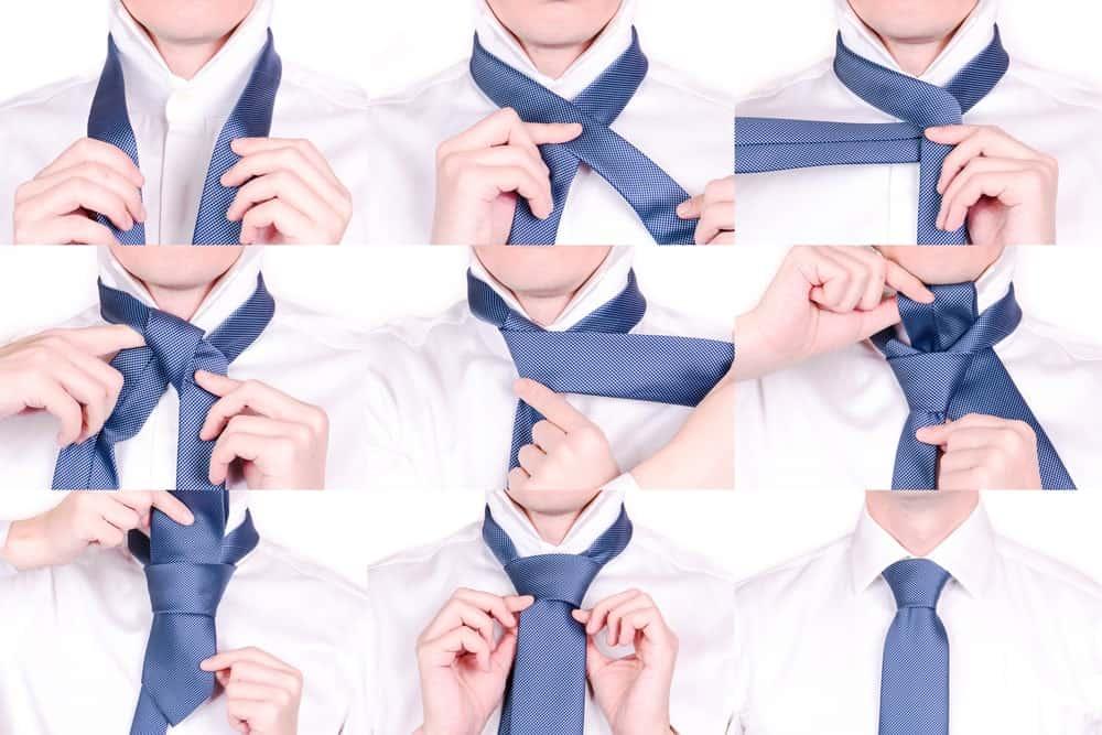 Process of tying a 4-Fold necktie.
