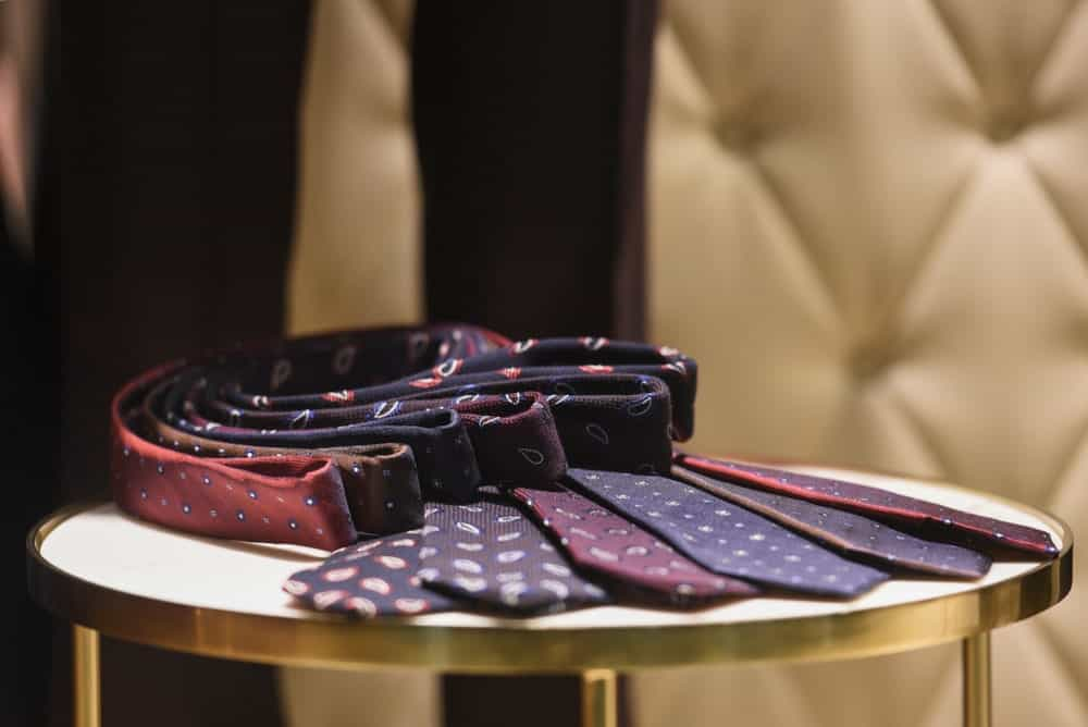 Men's ties displayed at a shop.