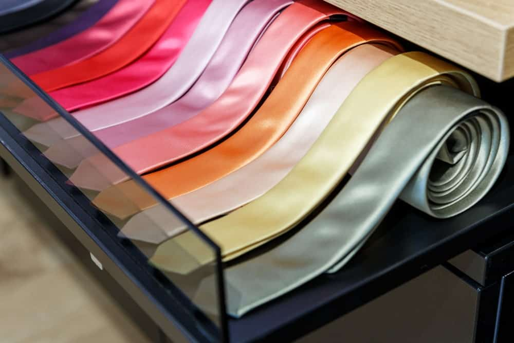 A collection of silk skinny ties.