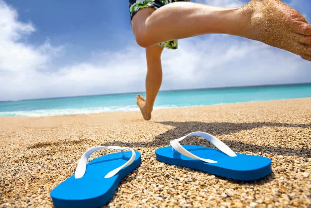 Blue-and-White Flip-Flop