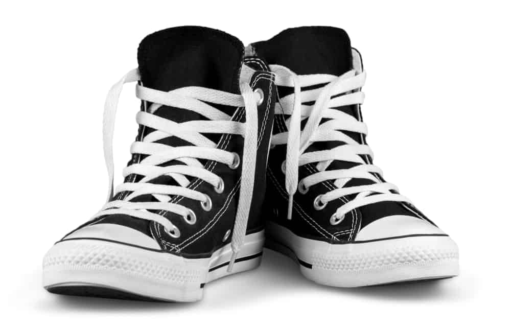 Black and white high-top sneakers