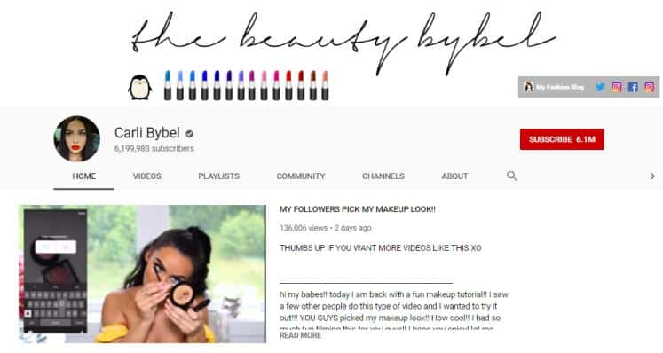Carli Bybel vlogs on beauty