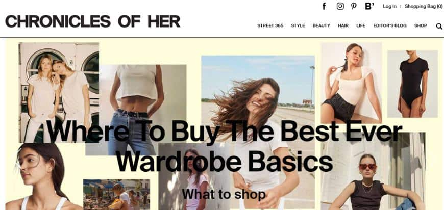 Chronicles of Her website for fashion