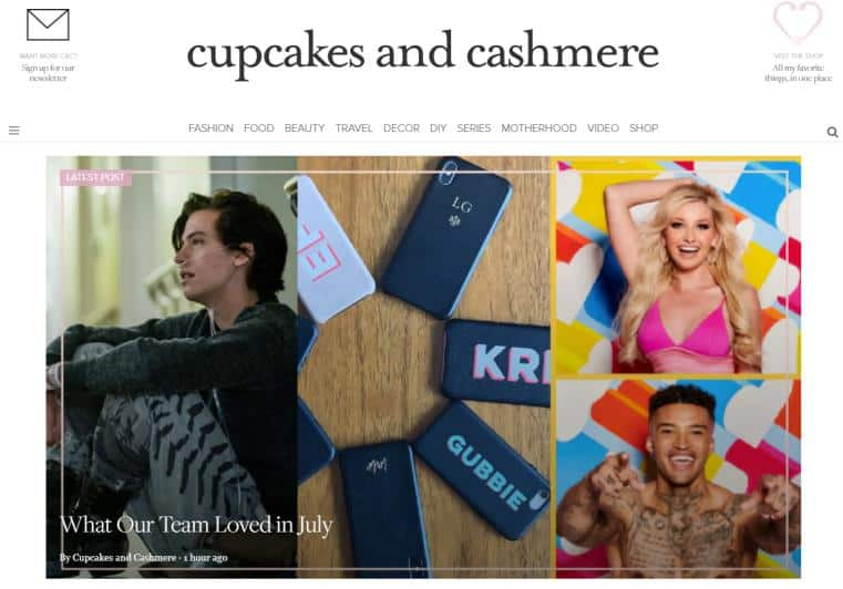Cupcakes and Cashmere website for fashion
