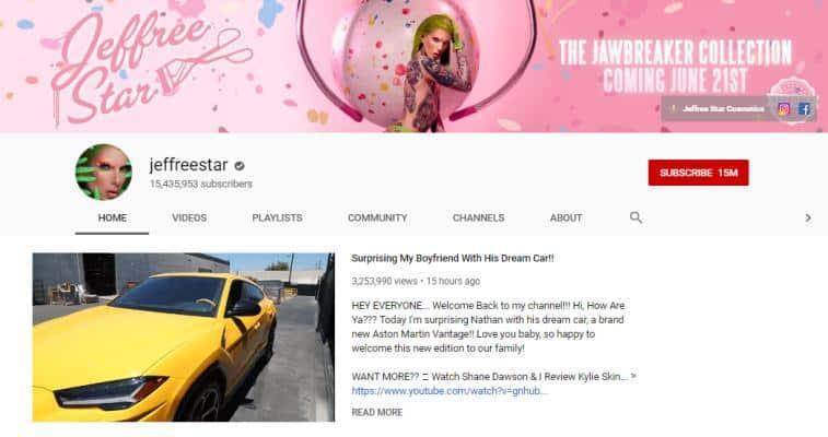 Jeffree Star vlogs on beauty