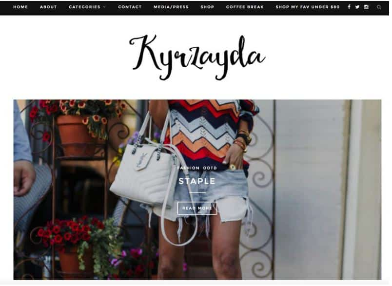 Kyrzayda website for fashion