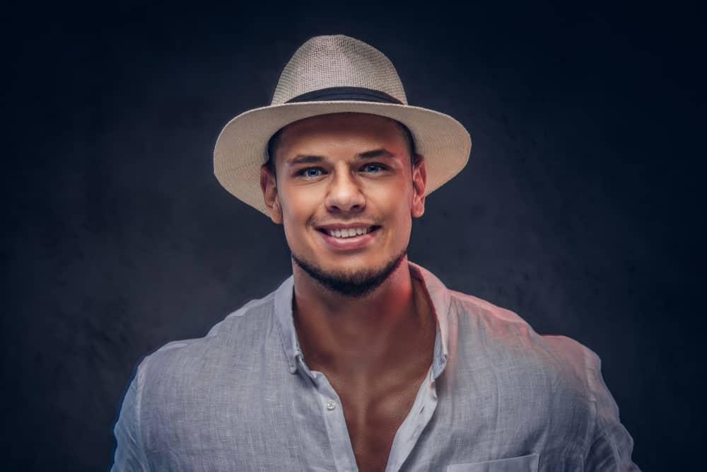 Man Wearing a Panama Hat