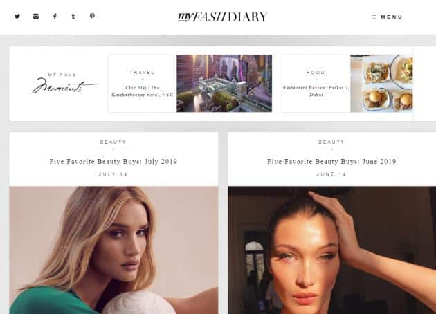 My Fash Diary website for fashion