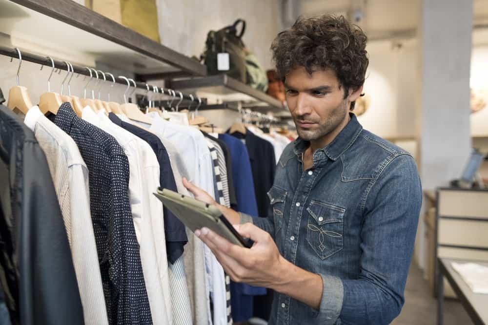 Retail sales clerk working
