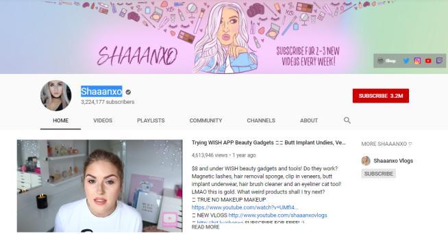 Shaaanxo YouTube vlog