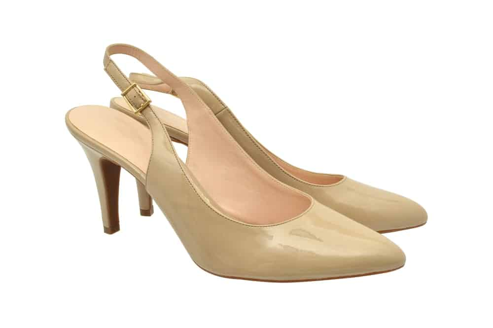 Cream-colored sling back heels