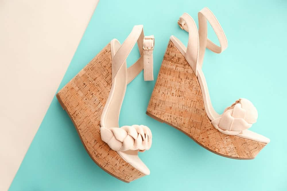 Cream open wedge sandals