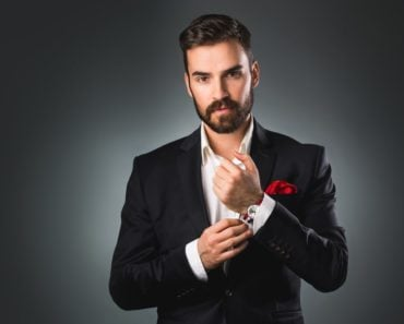 Male model wearing elegant clothes for a photo shoot