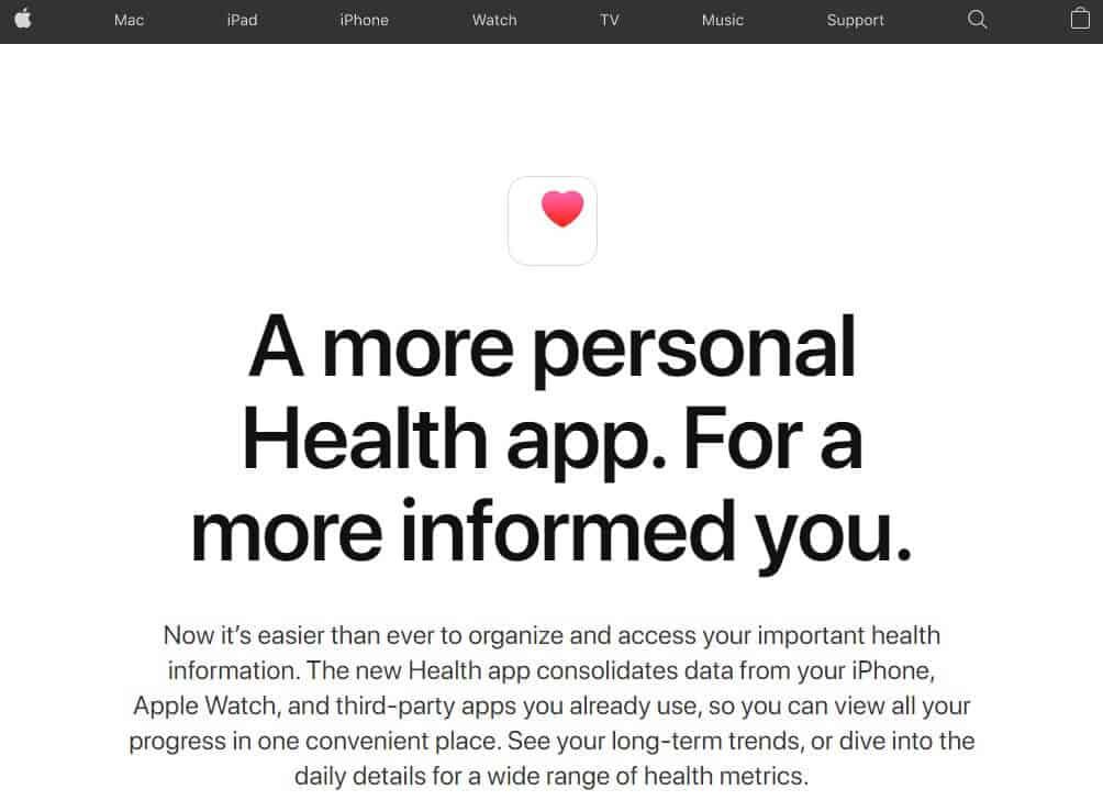 Screenshot of Apple app homepage.