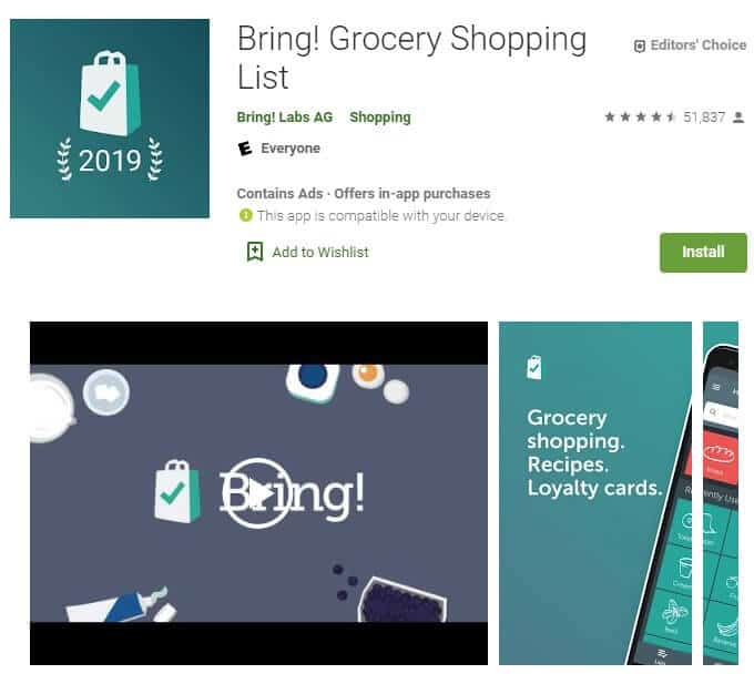 Screenshot of Bring! Grocery Shopping List app homepage.