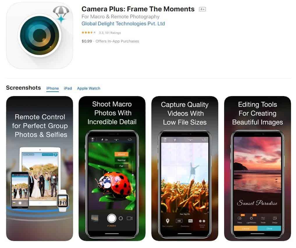 Screenshot of Camera Plus app homepage.