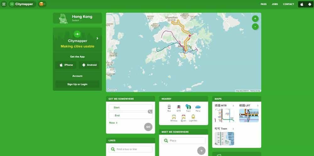 Screenshot of Citymapper app homepage.
