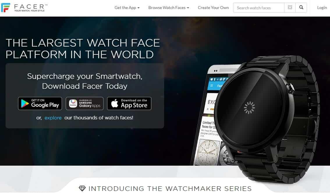 Screenshot of Facer app homepage.