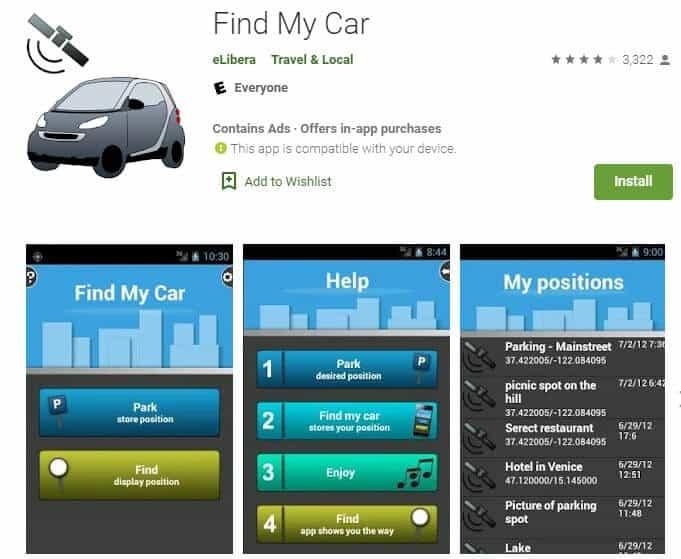 Screenshot of Find My Car app homepage.