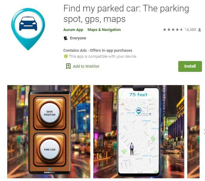 Screenshot of Find My Parked Car app homepage.