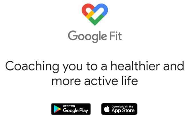 Screenshot of Google Fit app homepage.