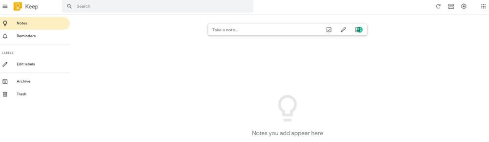 Screenshot of Google Keep app homepage.