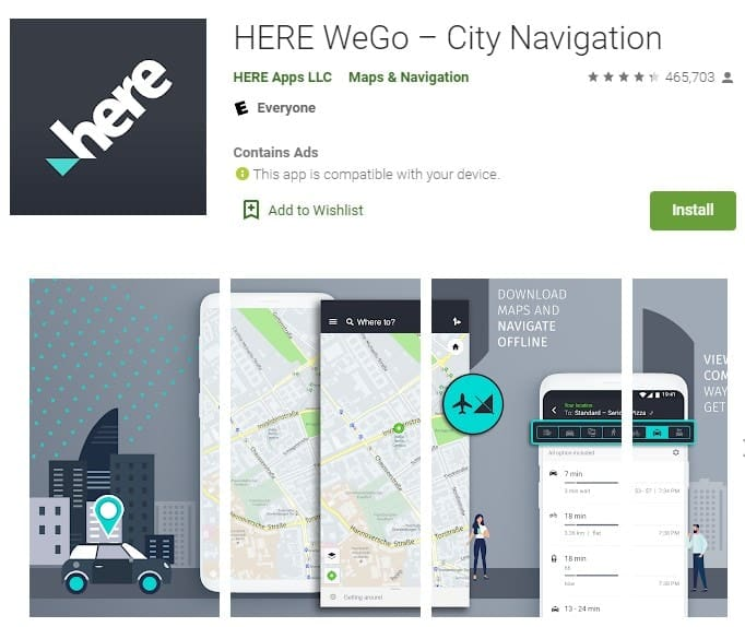 Screenshot of HERE WeGo.