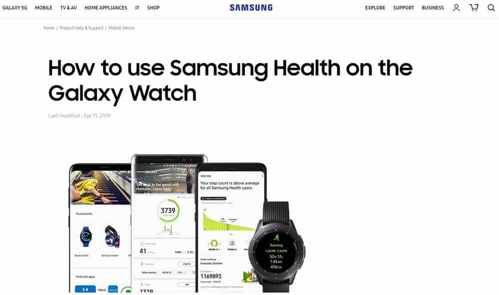 Screenshot of Samsung app homepage.