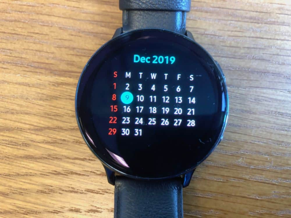 Month view calendar on the Samsung Galaxy Active2 Smartwatch