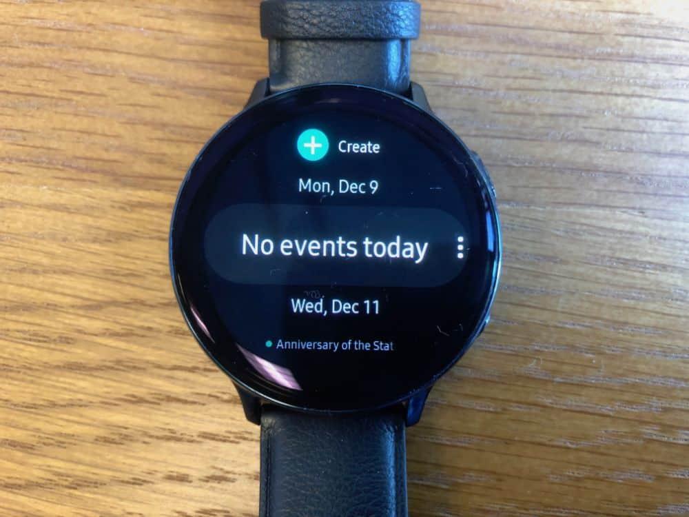 Calendar event in Samsung Galaxy Active2 Smartwatch
