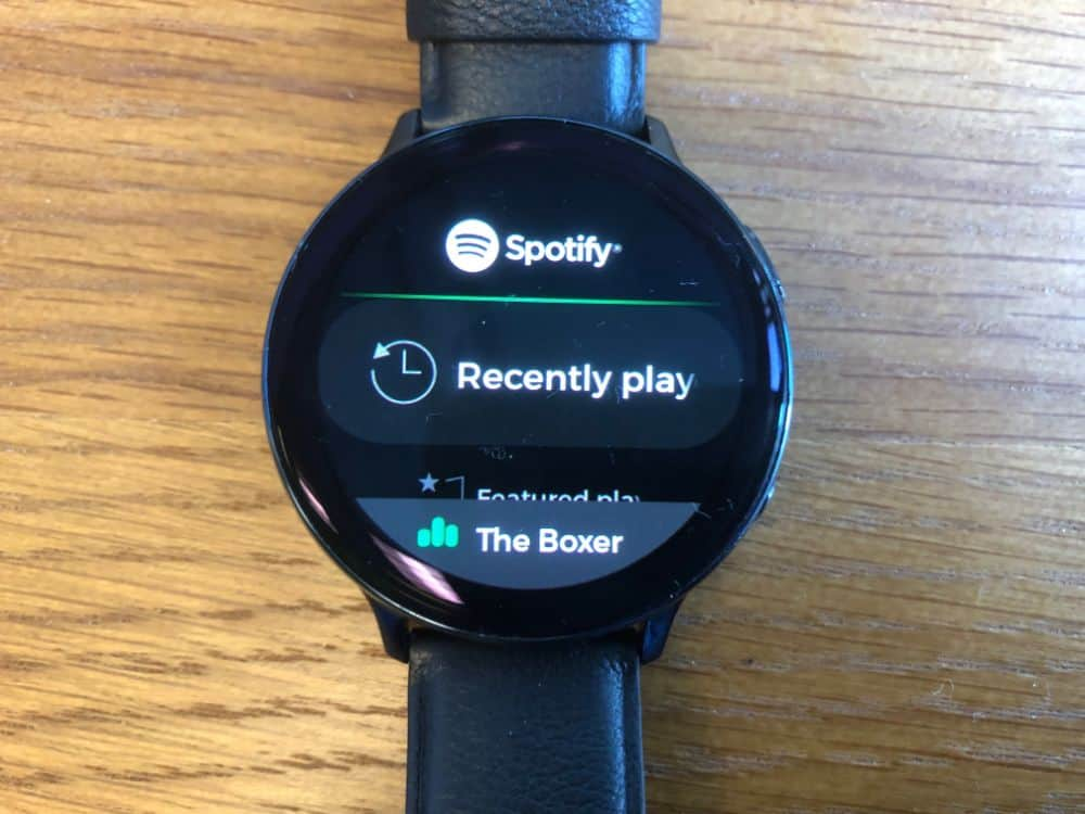 Spotify App on the Samsung Galaxy Active2 smartwatch