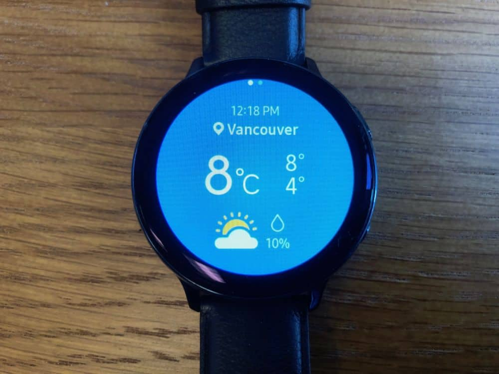 Weather app on the Samsung Galaxy Active2 Smartwatch