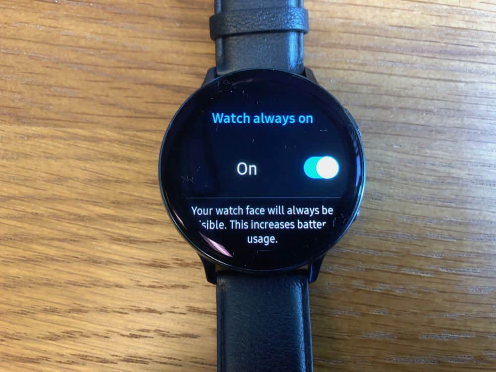 How to have watch display all the time on Samsung Galaxy Active2 smartwatch