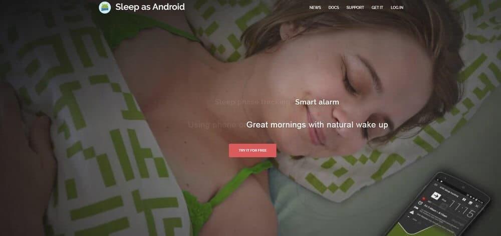 Screenshot of Sleep as Android app homepage.