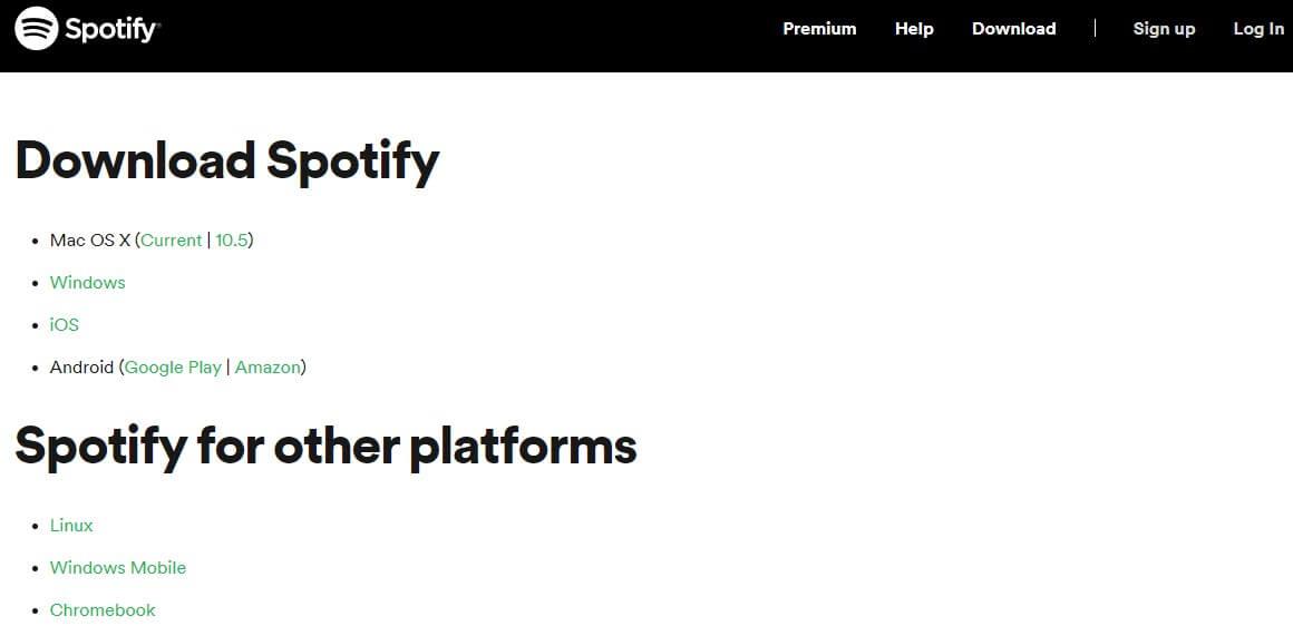 Screenshot of Spotify app homepage.