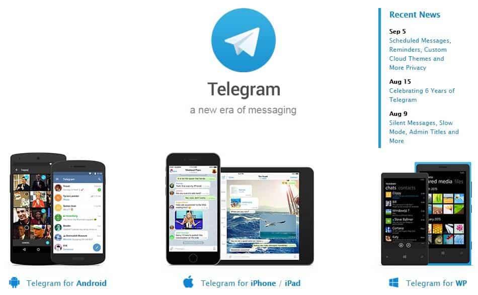 Screenshot of Telegram app homepage.