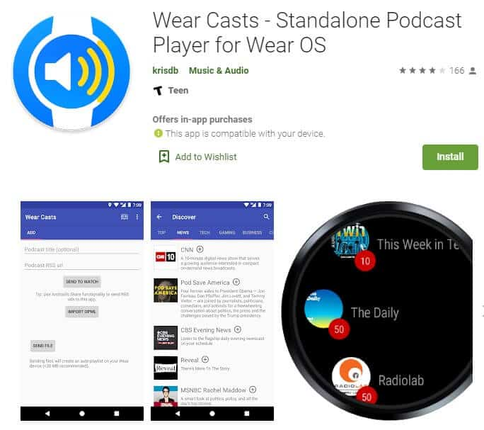 Screenshot of Wearcasts app homepage.