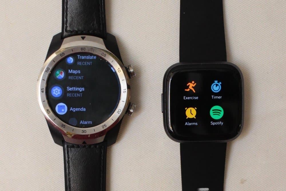 Ticwatch Pro vs Fitbit Versa 2 app menu