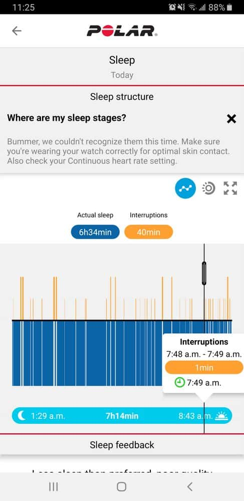 Polar Vantage V Sleep chart