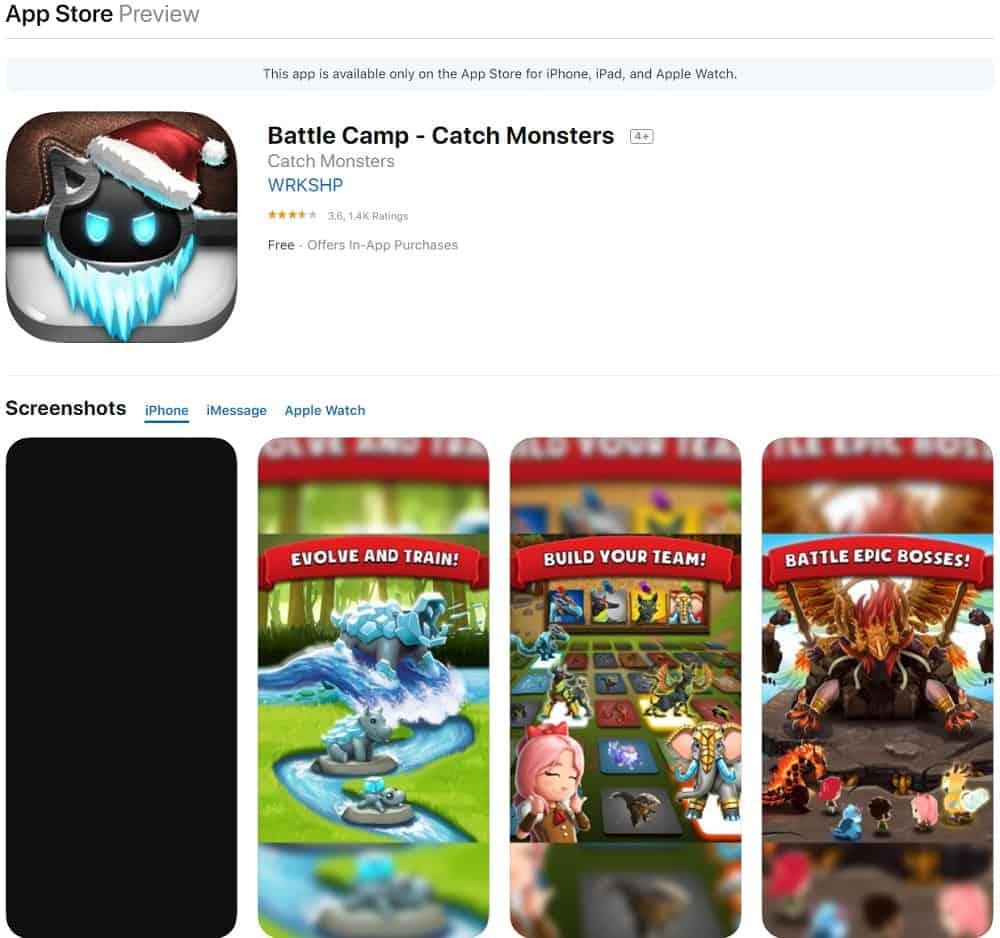 Screenshot of the Battle Camp app