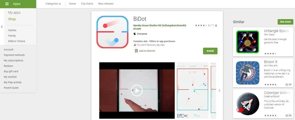 Screenshot of the BiDot app