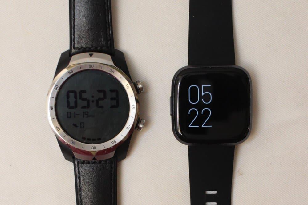 fitbit versa 2 vs ticwatch pro always on screen