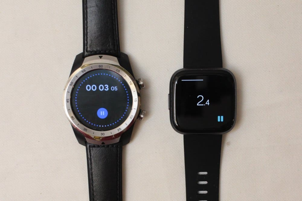 fitbit versa 2 vs ticwatch pro stopwatch
