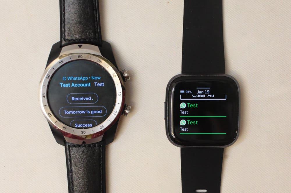 fitbit versa 2 vs ticwatch pro notifications