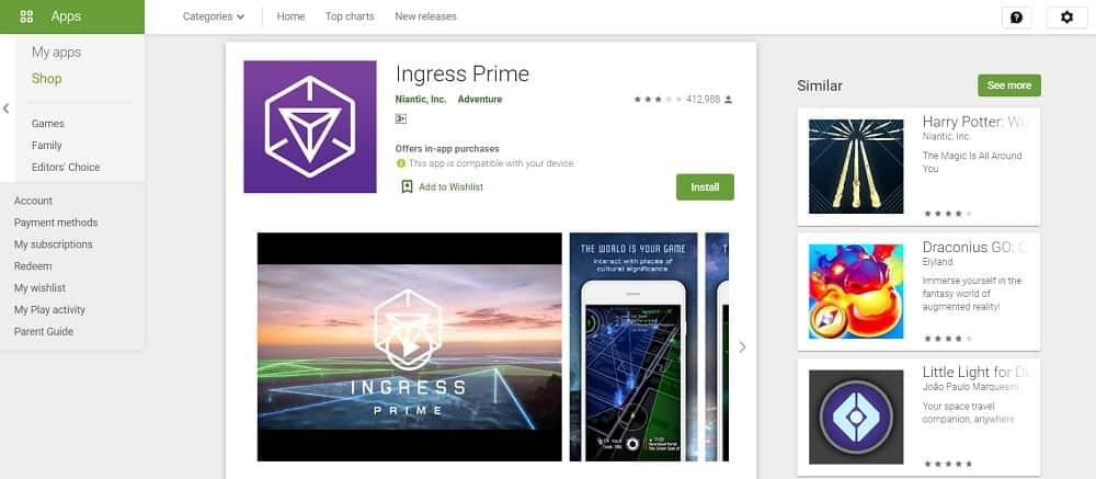 Screenshot of the Ingress Prime